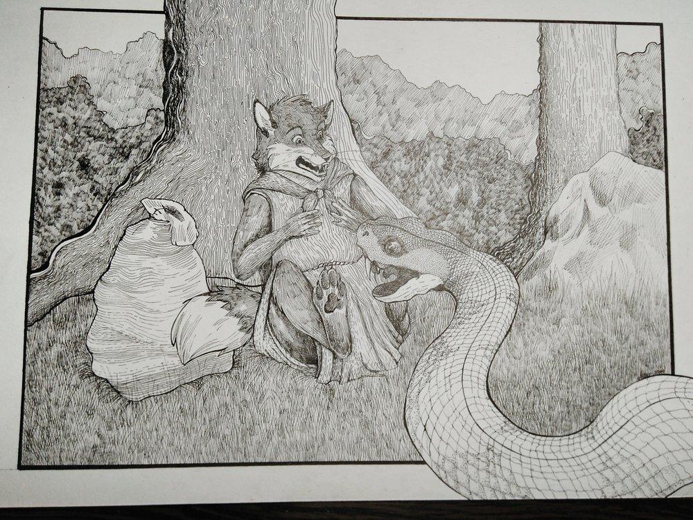 Змей и лис.